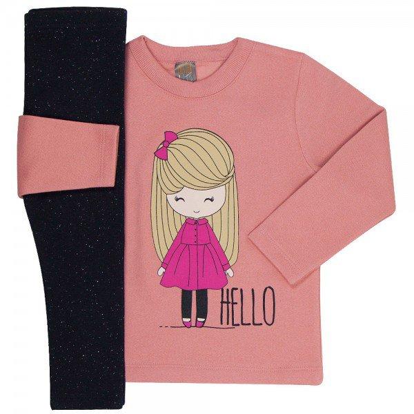 conjunto infantil menina hello blush preto mk166 7513