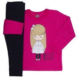 conjunto infantil menina hello pink preto mk166 7514