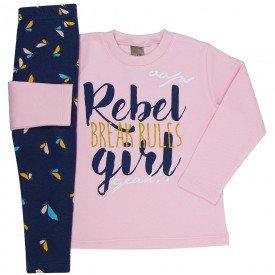 conjunto infantil menina girl chiclete marinho mk167 7519