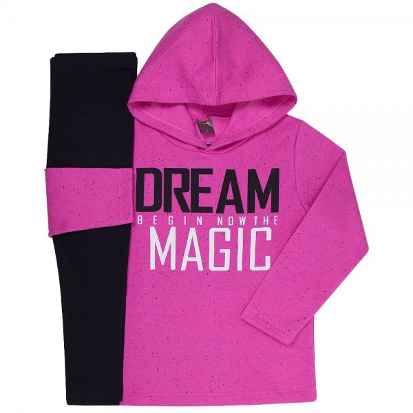 conjunto infantil feminino dream magic chiclete preto mk260 7540