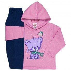 abrigo de frio infantil feminino com capuz chiclete marinho 3302 k3302chi