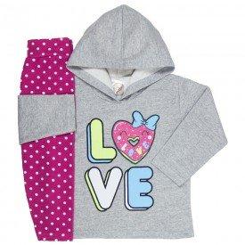 abrigo de frio infantil feminino love com capuz mescla poa pink 3303 k3303mes