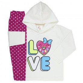 abrigo de frio infantil feminino love com capuz perola poa pink 3303 k3303per