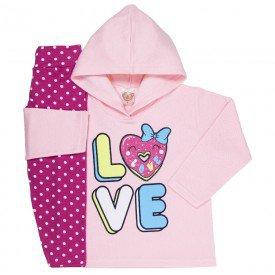 abrigo de frio infantil feminino love com capuz rosa poa pink 3303 k3303ros