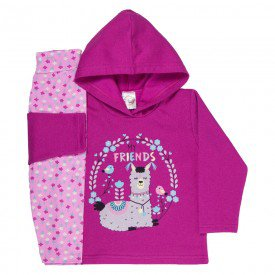 conjunto de inverno infantil feminino my friends pink floral 3304 k3304pin