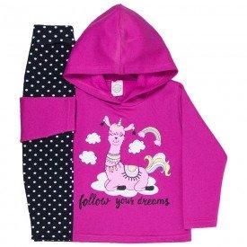 conjunto de inverno infantil feminino dreams pink poa preto 4403 k4403pin
