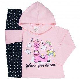 conjunto de inverno infantil feminino dreams rosa claro poa preto 4403 k4403ros