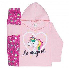 abrigo de frio infantil feminino be magical rosa claro unicornio 4404 k4404ros