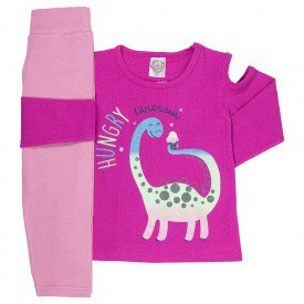 conjunto de inverno infantil feminino dino pink chiclete 4420 k4420pin