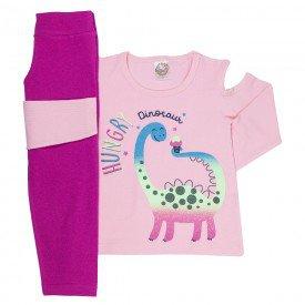 conjunto de inverno infantil feminino dino rosa claro pink 4420 k4420ros
