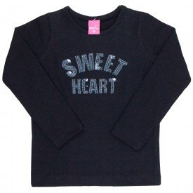 blusa infantil menina manga longa sweet heart preto 1215 2212 8083