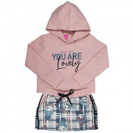 conjunto infantil menina lovely rosa cha xadrez cinza 2206 8106