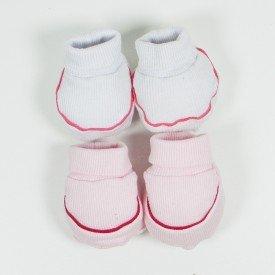 kit 2 pares de meia de bebe menina branco e rosa claro sir 12