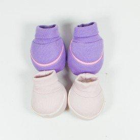 kit 2 pares de meia de bebe menina lilas e rosa claro sir 18