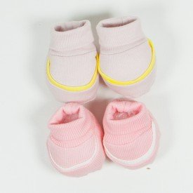 kit 2 pares de meia de bebe menina rosa claro e filete amarelo sir 15