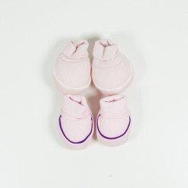kit 2 pares de meia de bebe menina rosa claro e filete roxo sir 14