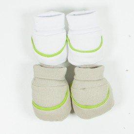 kit par de meia e luva de bebe menino bege e branco sir 26