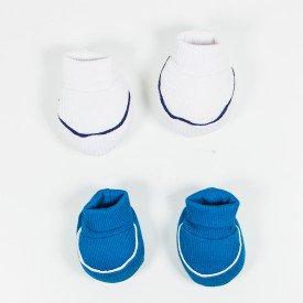 kit par de meia e luva de bebe menino petroleo e branco sir 24