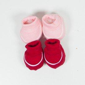 kit 2 pares de meia de bebe menina vermelho e rosa claro sir 17