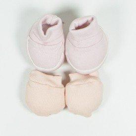 kit par de meia e luva de bebe menina salmao sir 22