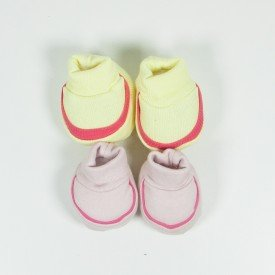 kit 2 pares de meia de bebe menina amarelo e rosa claro sir 16