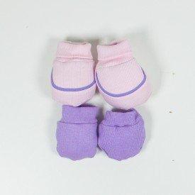 kit par de meia e luva de bebe menina rosa claro e lilas sir 23