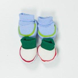 kit par de meia e luva de bebe menino azul claro e branco sir 28