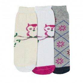 kit 3 pares de meias infantis femininas sortidas sir 04