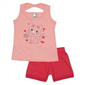 conjunto menina salmao detalhe strass shorts magenta 00334 2