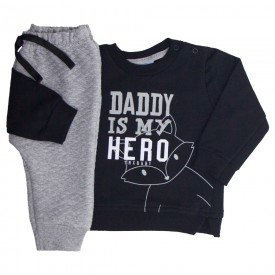conjunto bebe masculino daddy hero preto mescla 4072 8574