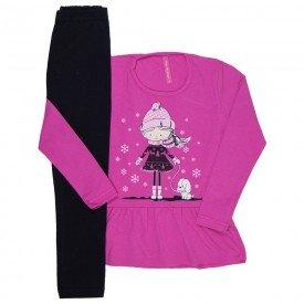 conjunto infantil feminino winter pink e preto 41810