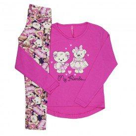 conjunto infantil feminino ursinho pink 51803