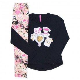 conjunto infantil feminino cartas preto e rosa 51803
