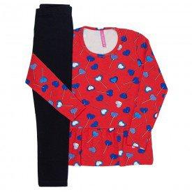 conjunto infantil feminino coracoes vermelho e preto 51810