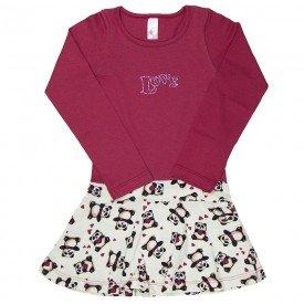 vestido infantil panda com vermelho 1321 sh 1321 pan
