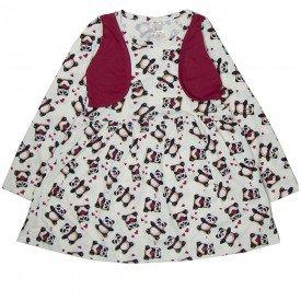 vestido infantil panda com colete fake 1315 sh 1315 pan