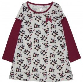 vestido infantil panda manga longa vermelha 1323 sh 1323 pan
