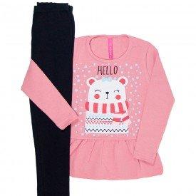 Conjunto Infantil Feminino Hello Rose e Preto 41810 2