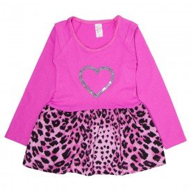 vestido infantil pink com saia animal print 1329