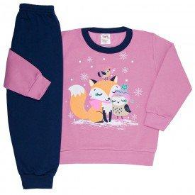 conjunto infantil menina moletom raposa chiclete e marinho 4401