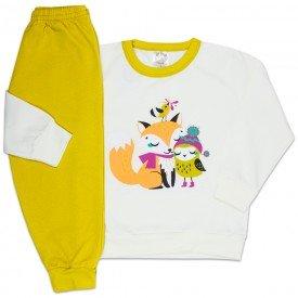 conjunto infantil menina moletom raposa perola e mostarda 4401