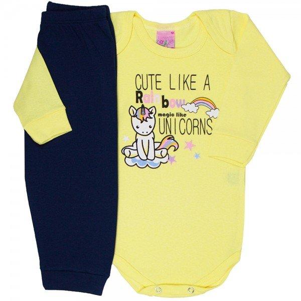 conjunto body amarelo magic like unicorns calca marinho 1529 8235