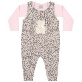macacao infantil bebe menina urso marrom pessego 6537 tm 6537 mar
