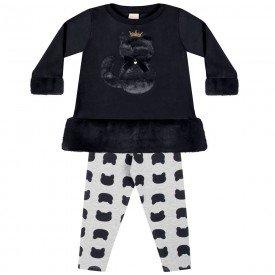 conjunto infantil bebe menina cat preto mescla 6548 7432