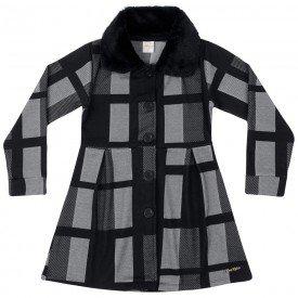 casaco infantil menina winter quadrados preto 6586 tm 6586 quad