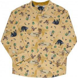 camisa social infantil masculina gola portuguesa mostarda m0935 8310