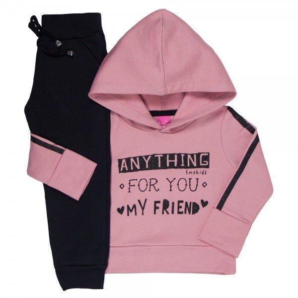 conjunto blusa moletom rosa com capuz e jogger preta 1177