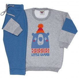 conjunto infantil masculino blusa mescla e calca cotton jeans azul claro 4168 7078