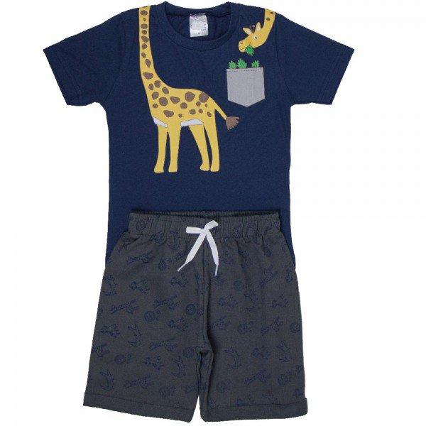conjunto infantil masculino de verao girafinha marinho chumbo 1301 2 8588