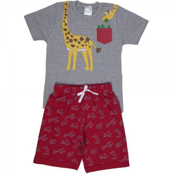 conjunto infantil masculino de verao girafinhamescla vermelho 1301 8589